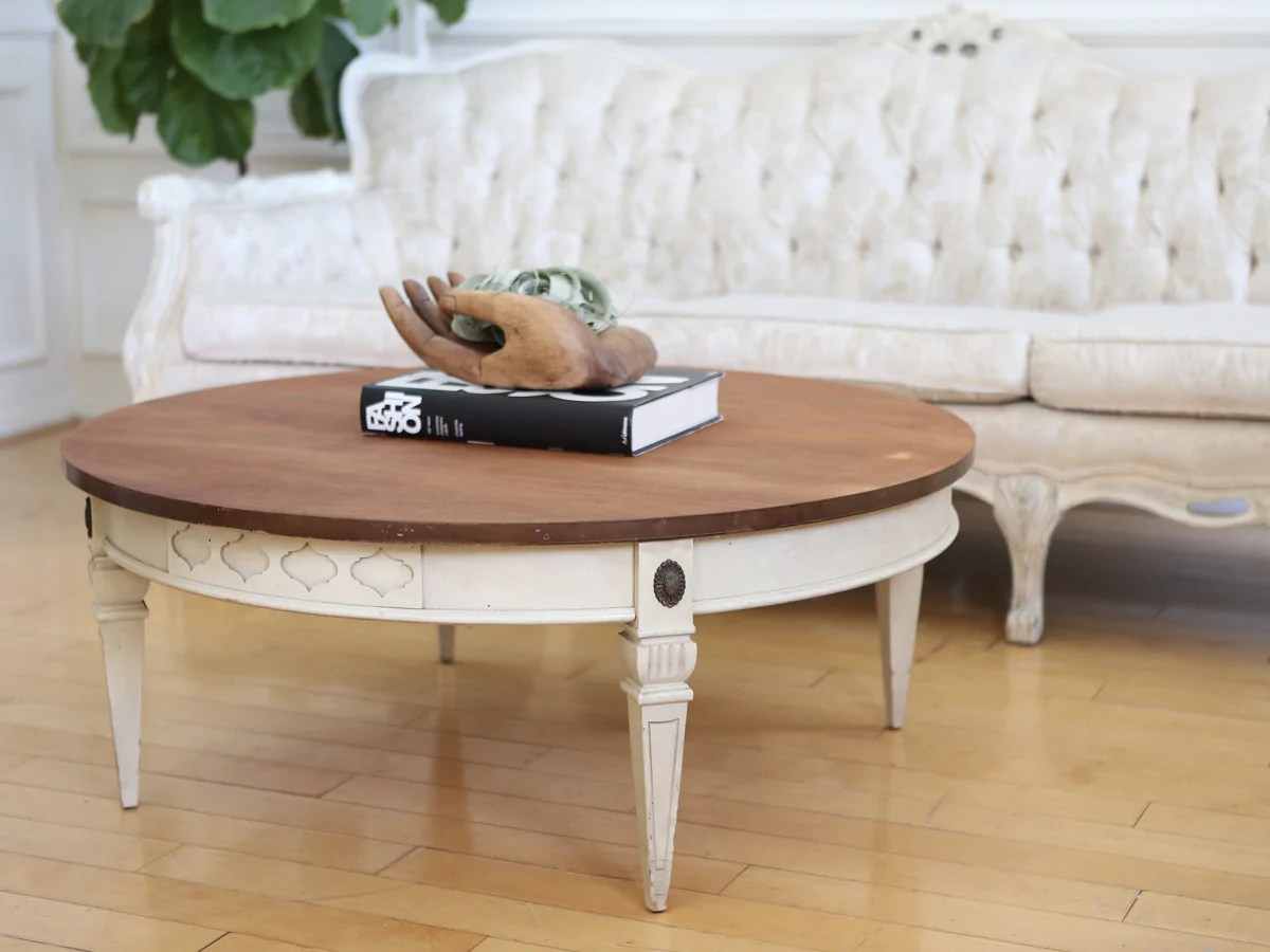 shabby chic wooden top vintage round coffee table no252
