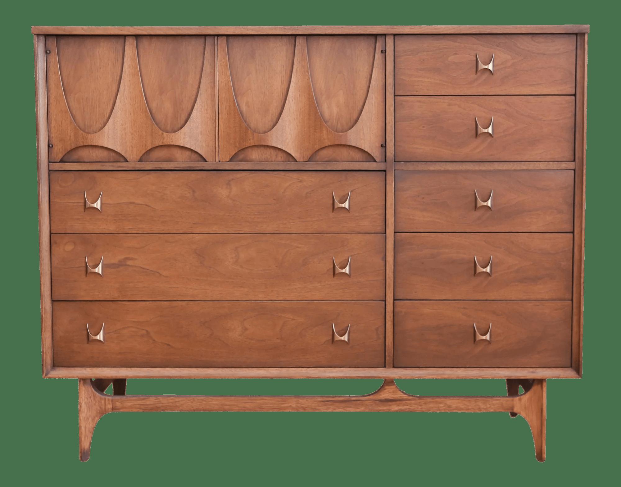 Broyhill Brasilia Magna Sculpted Walnut Dresser Chest