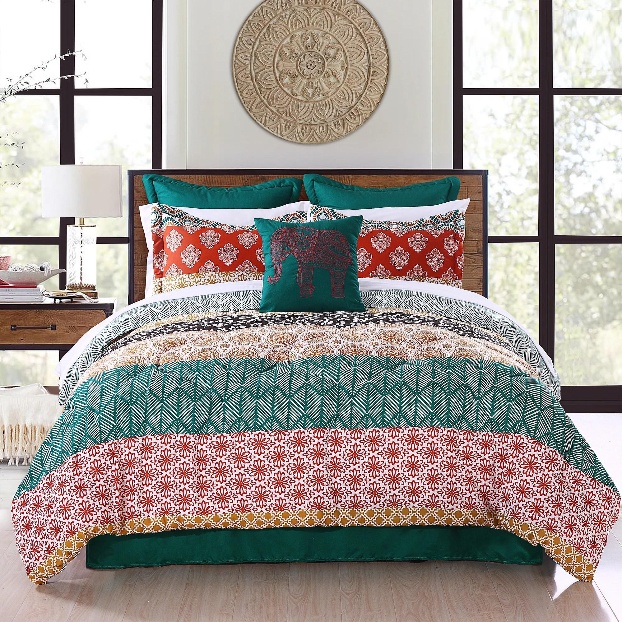 bohemian stripe 7 piece comforter set full queen turquoise orange