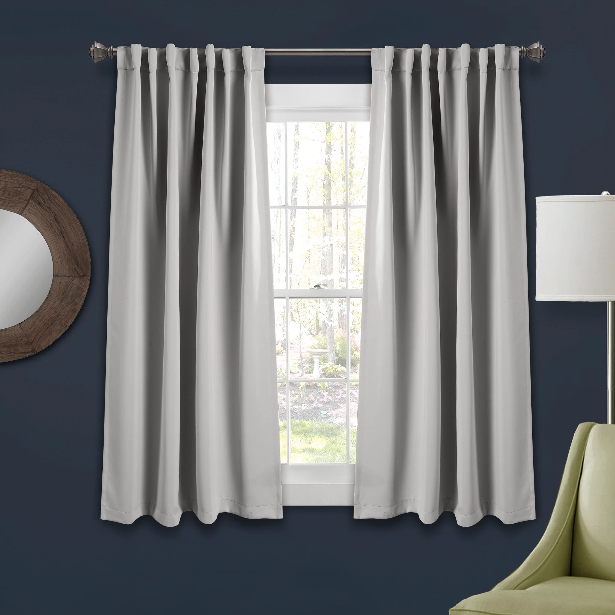 insulated back tab blackout curtain panel set 63 x 52 light gray