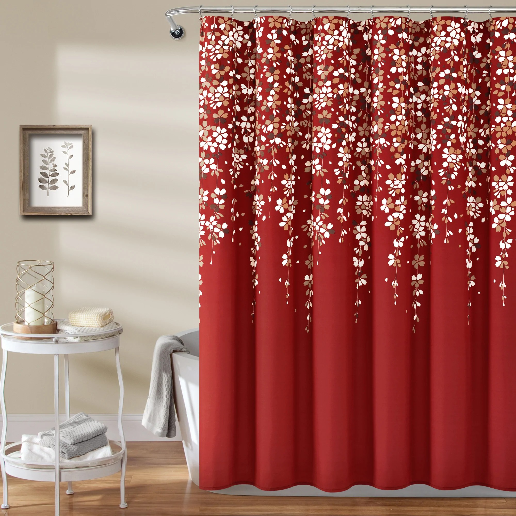 weeping flower shower curtain 72 x 72 red