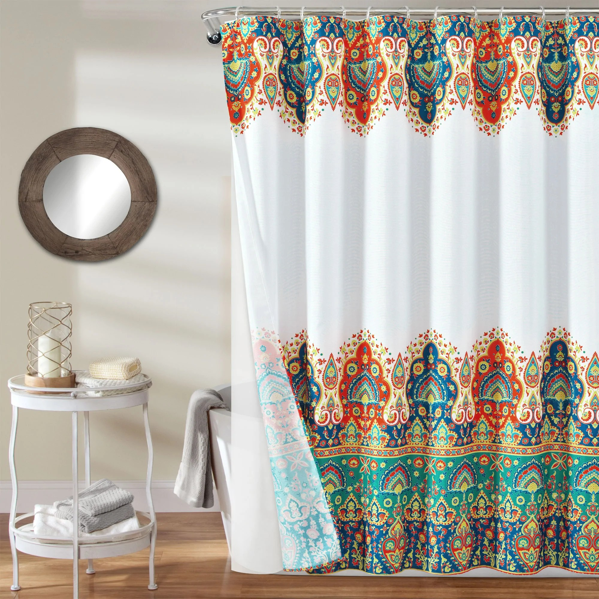 bohemian meadow shower curtain 14 piece complete set 72 x 72 orange turquoise