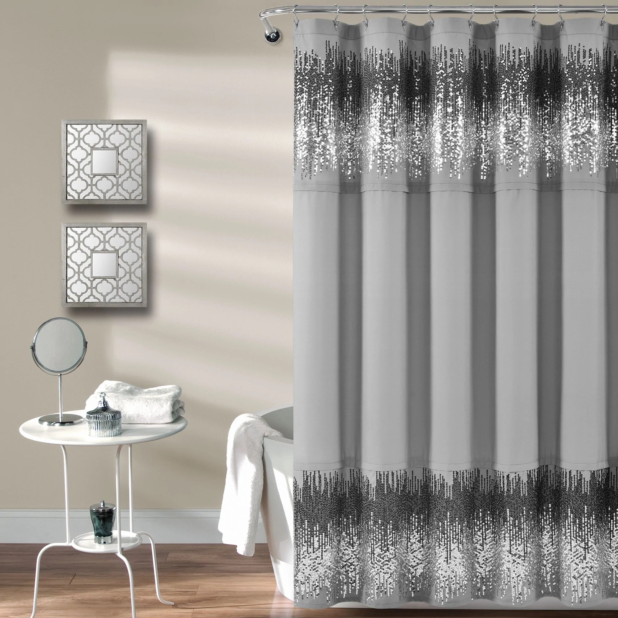 shimmer sequins shower curtain 70 x 72 gray black