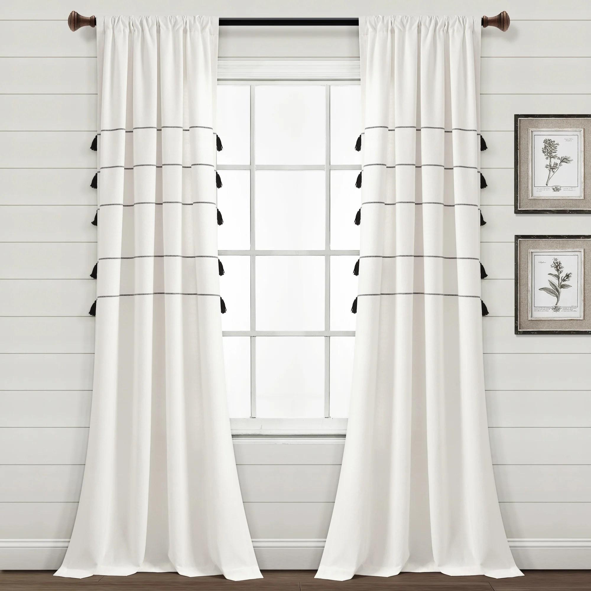 farmhouse boho stripe woven tassel yarn dyed cotton window curtain panel set 84 x 42 ivory black