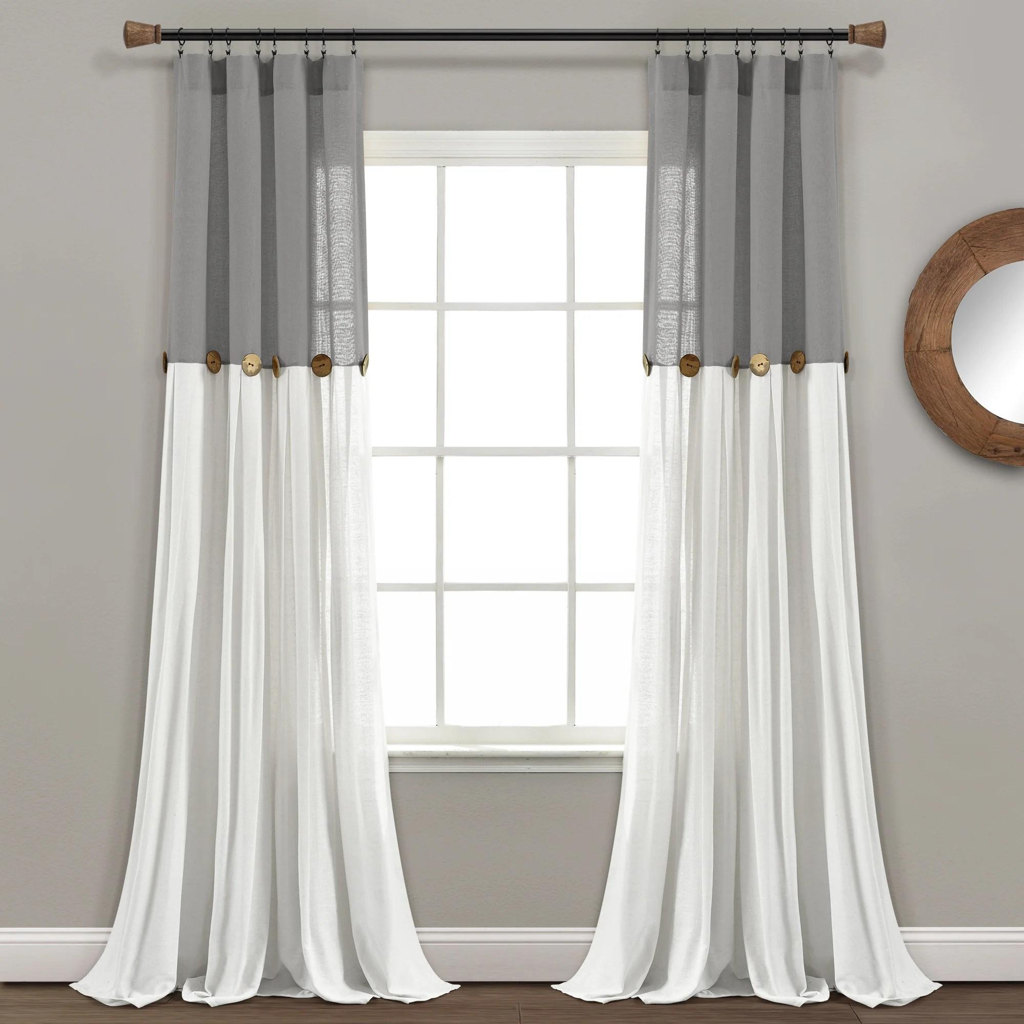 linen button window curtain panel