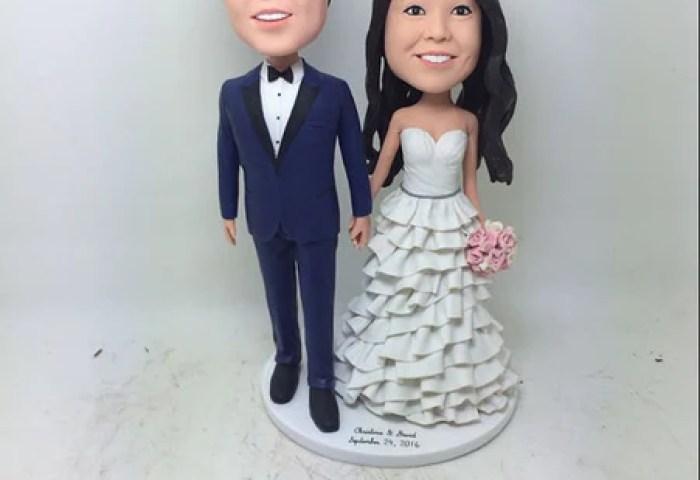 Custom Bobble Head Personalized Wedding Cake Topper Clay Figurine
