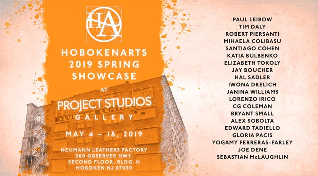2019 Spring Showcase Poster with orange splash and Neumann building