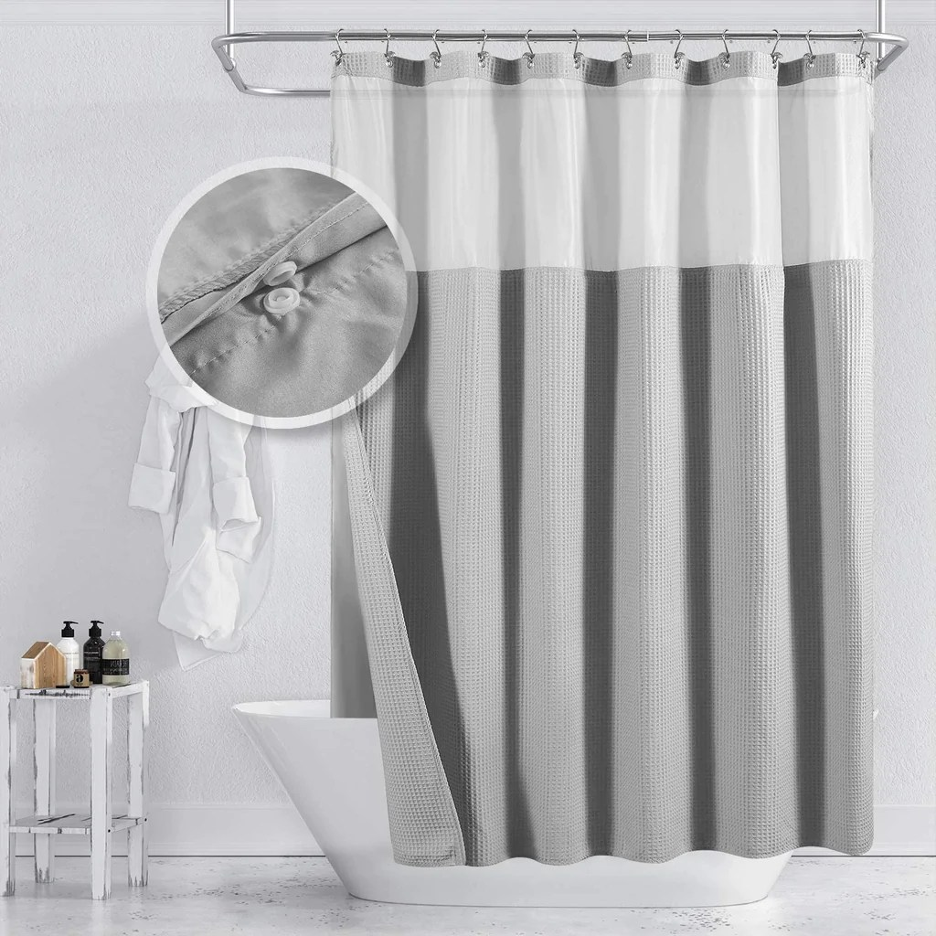 barossa design hotel style cotton shower curtain with snap in fabric liner mesh window top honeycomb waffle weave cotton blend fabric washable