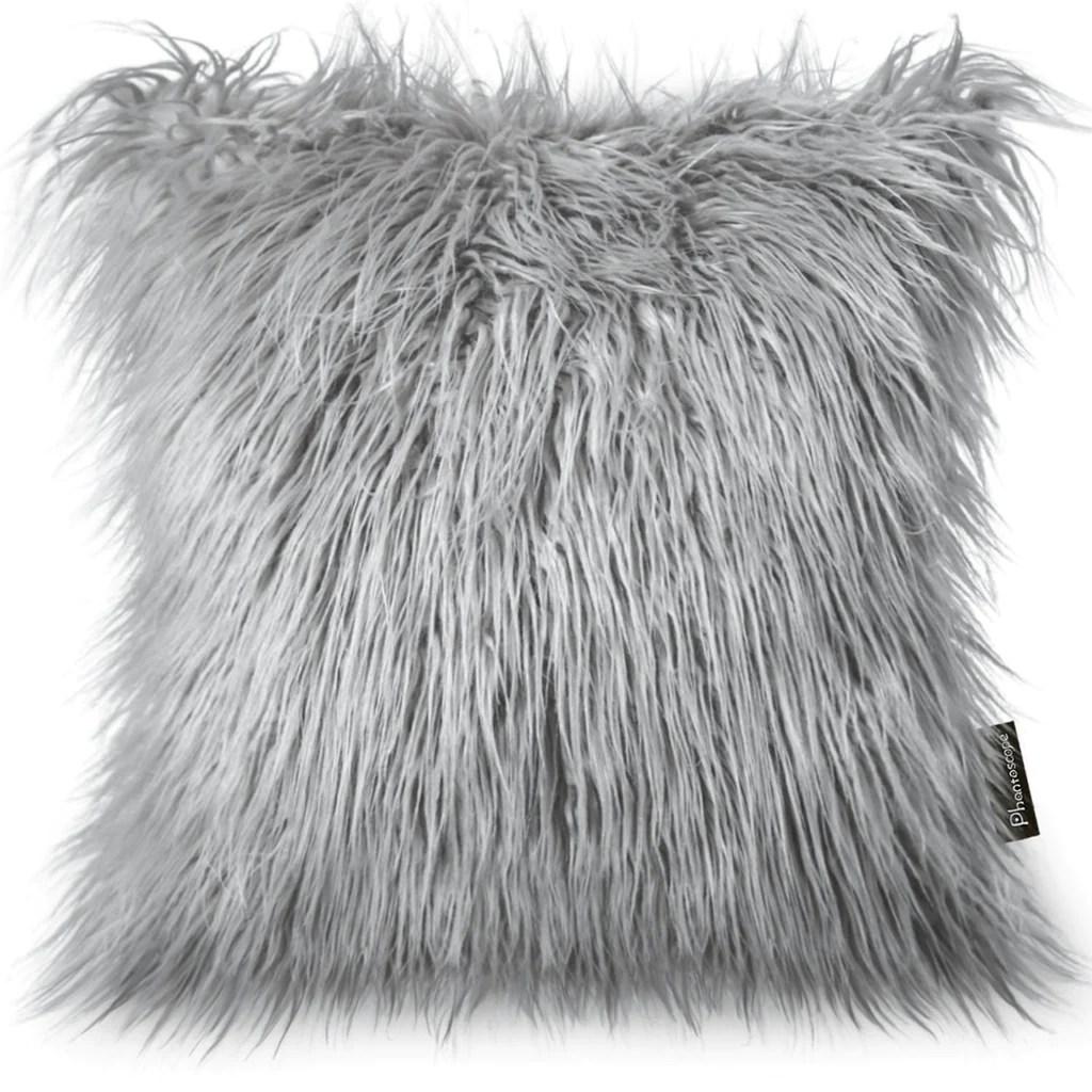 luxury series merino style grey fur throw pillow cover 18 x 18