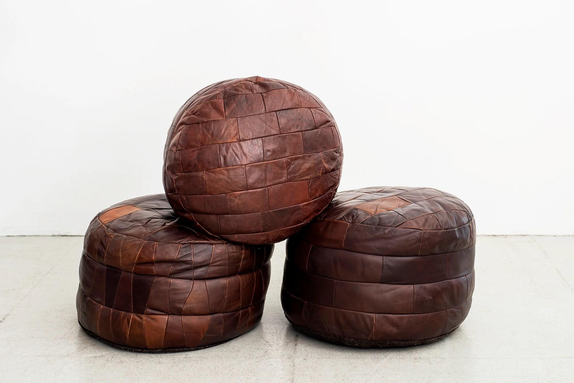 de sede leather brick patchwork ottomans