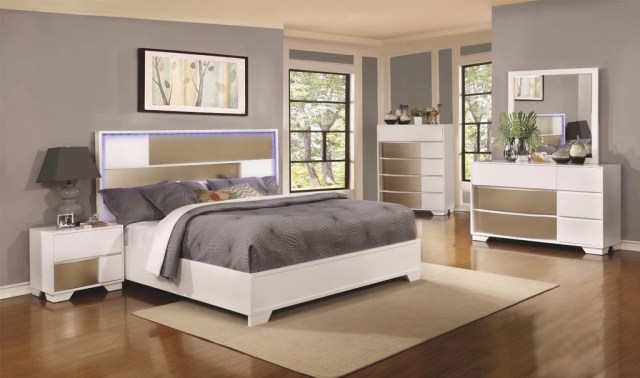 4 PC WHITE & SILVER QUEEN BED W/ LED HEADBOARD LIGHTS ...