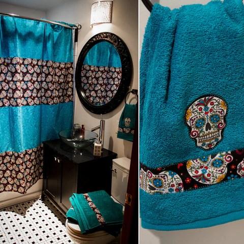 sugar skull shower curtain with