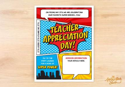 SUPERHERO: Teacher Appreciation Day Flyer (Editable) - The Appreciation Shop