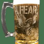 Fear More Beer Etched Beer Mug Atom Age Industries