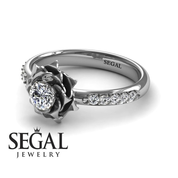 14k White Gold 0 25Ct round cut diamond delicate Rose engagement     14k White Gold 0 25Ct round cut diamond delicate Rose engagement ring      Segal Jewelry