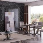 Alessandro 180cm Marble Grey Dining Table With Chrome Pedestal Choose Modernique