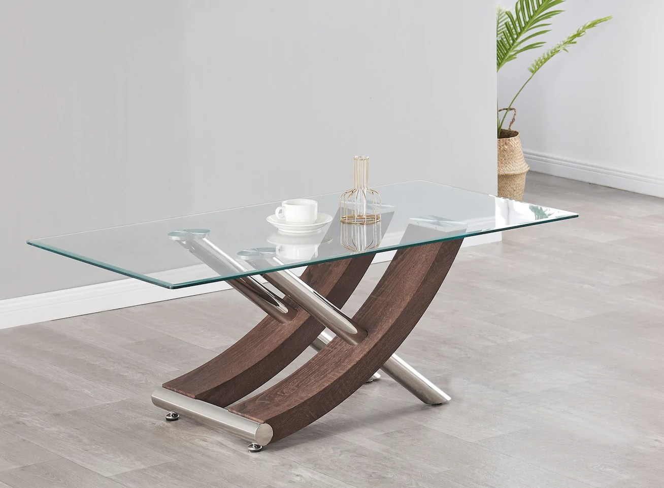 nuovo stunning italian design coffee table colours black grey oak walnut with clear glass top