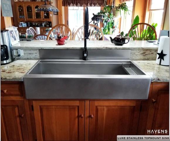 apron front sink with backsplash