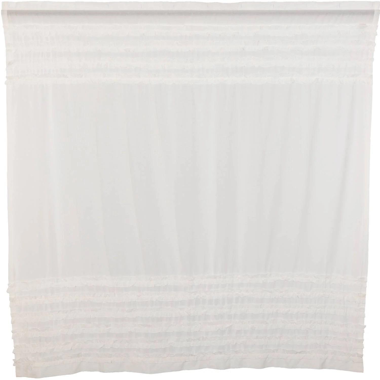white ruffled sheer petticoat shower curtain 72x72