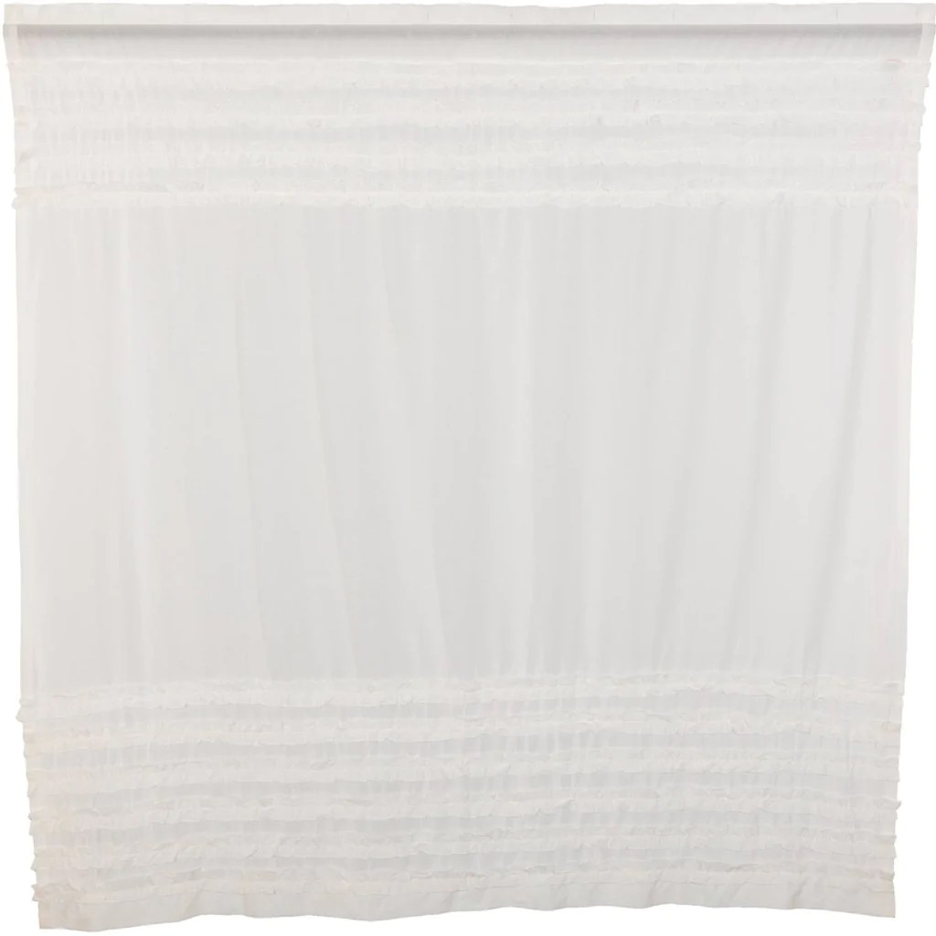White Ruffled Sheer Petticoat Shower Curtain 72x72 The Bitloom Co