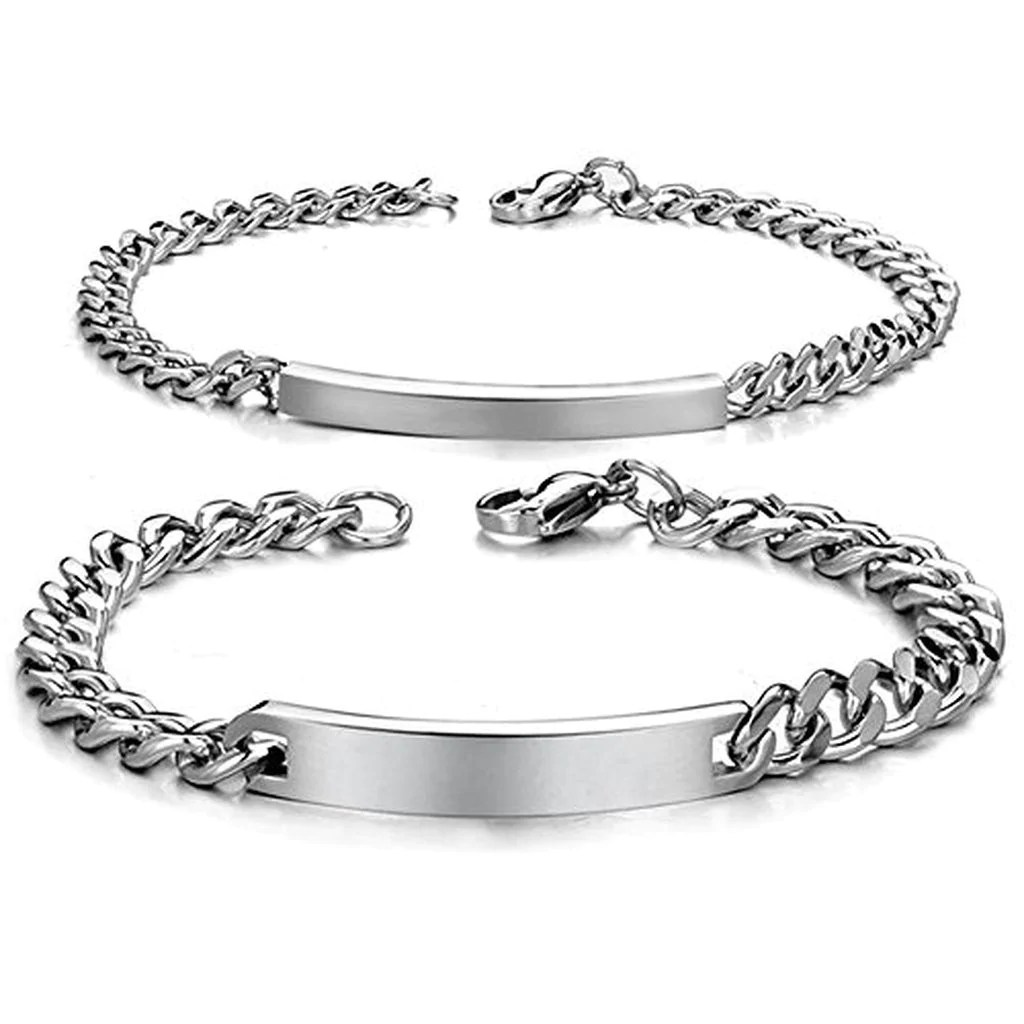 Personalized His And Hers Stainless Steel ID Couple