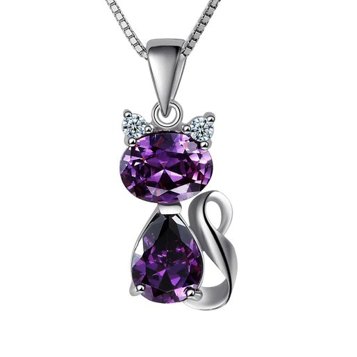 Purple Cat 925 Sterling Silver Pendant Necklace EverMarker
