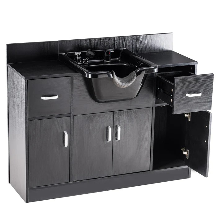 barberpub multi functional shampoo station with shampoo bowl and storage cabinet all in one backwash sink chair spa salon beauty equipment 7139