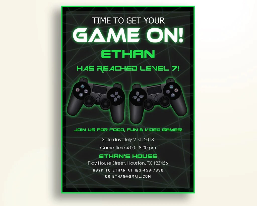 game birthday party invitation vi