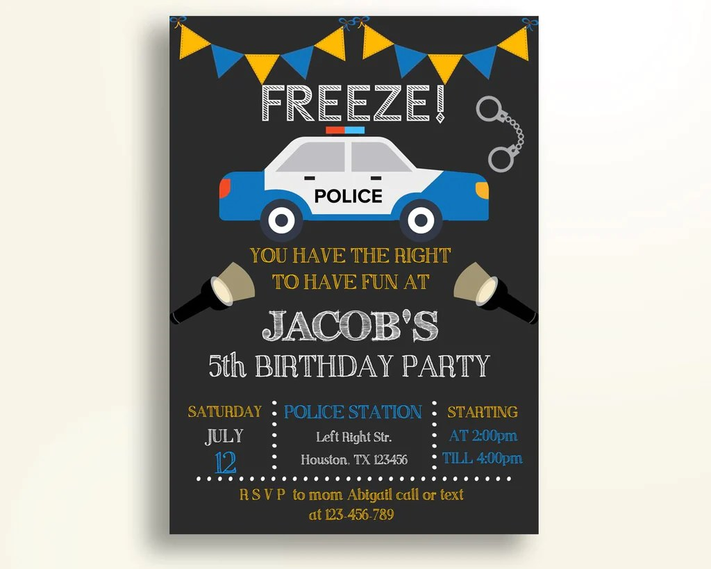 police birthday invitation police