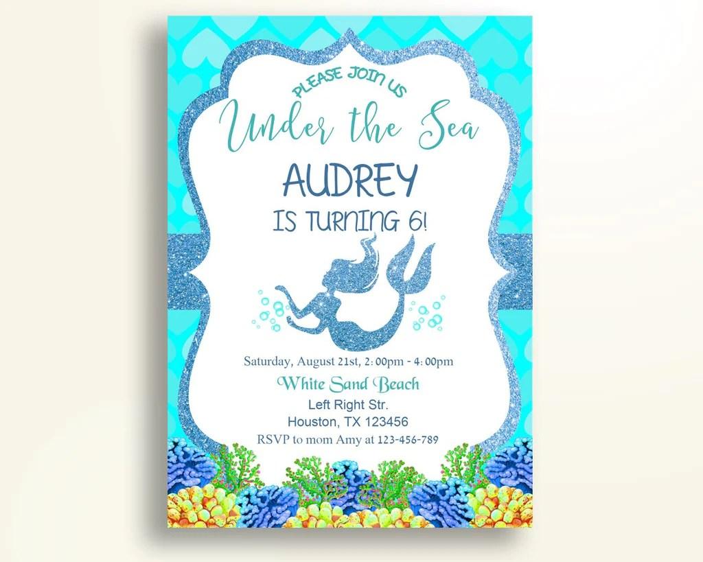 mermaid birthday invitation mermaid