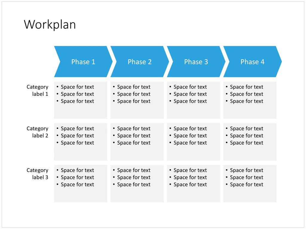 A Work Plan In PowerPoint 4 Phases SlideMagic