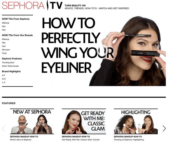 Sephora makeup tutorials   Shopify Retail blog
