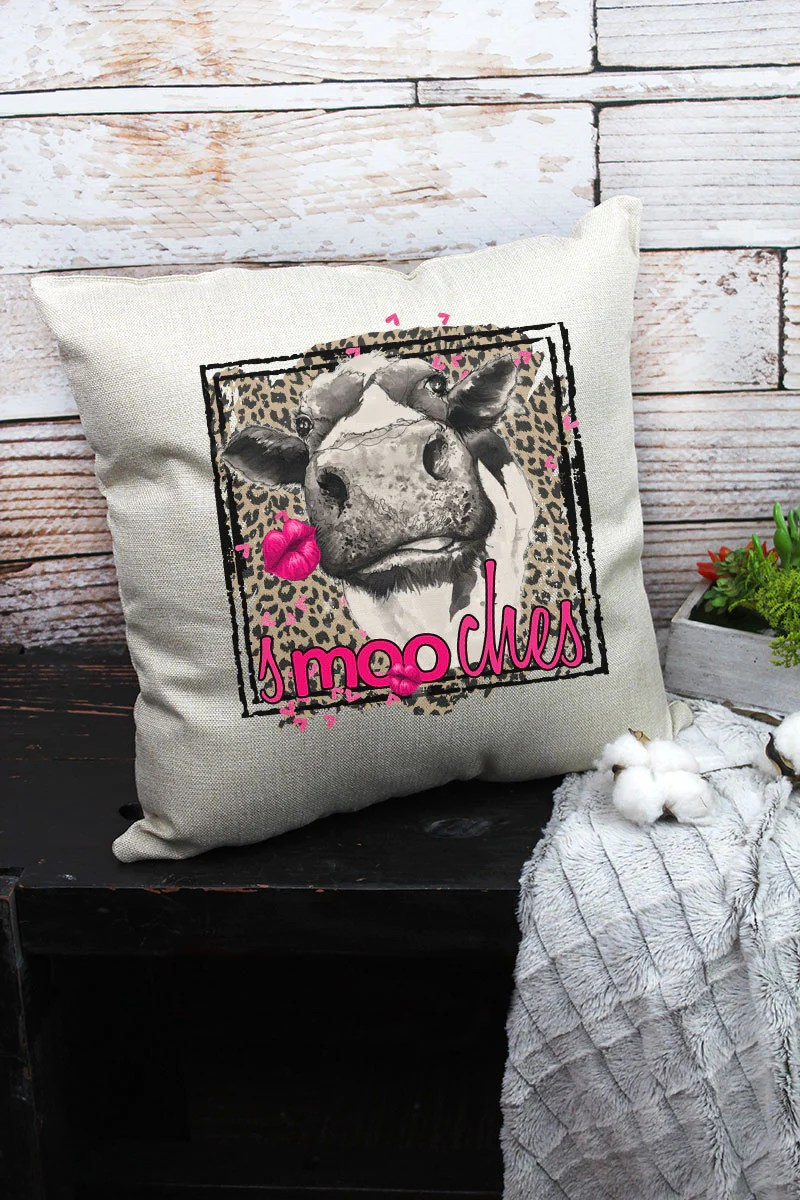 smooches cow leopard decorative pillow cover