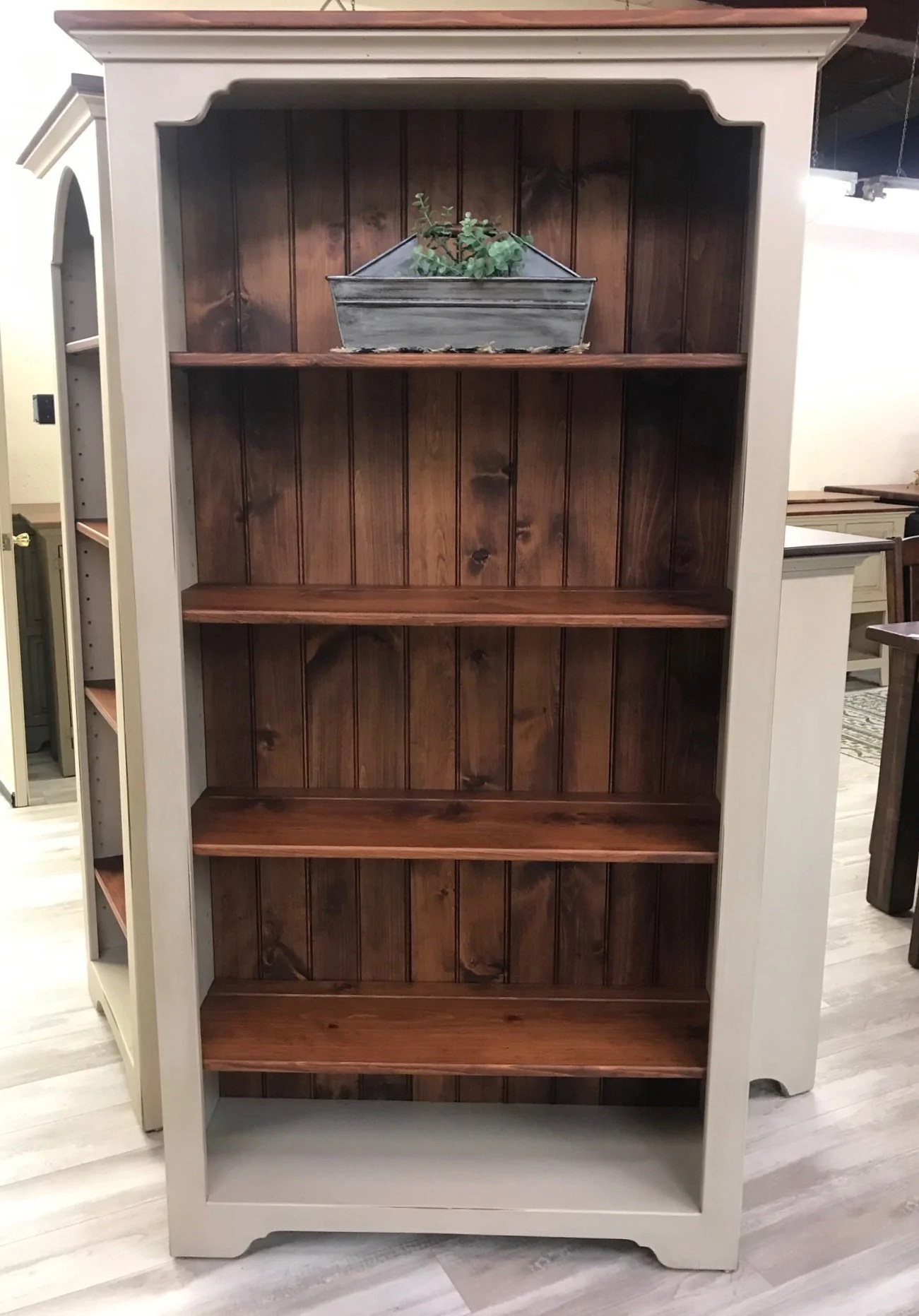 Antique White With Cherry Large Bookcase