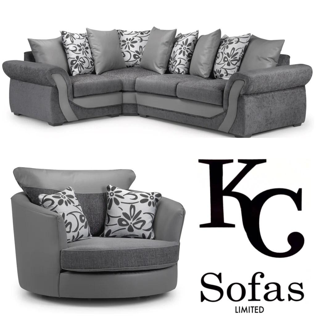 Swan Corner Sofa Large Swivel Chair Set Kc Sofas