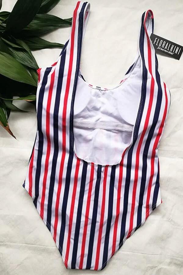 Floralkini Multicolor Striped One Piece Swimsuit