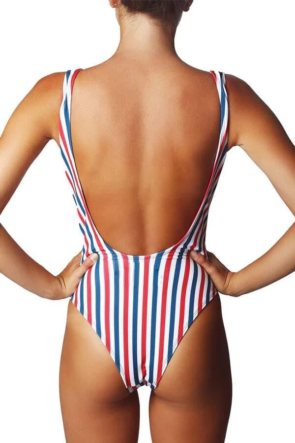 Floralkini Multicolor Striped One Piece Swimsuit