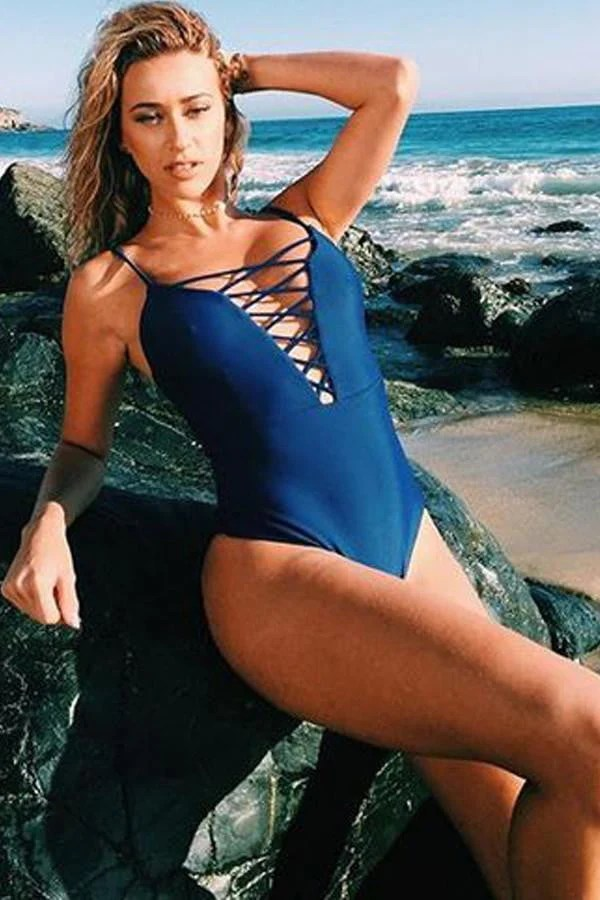 Floralkini Solid Lace-Up Front One Piece Swimsuit