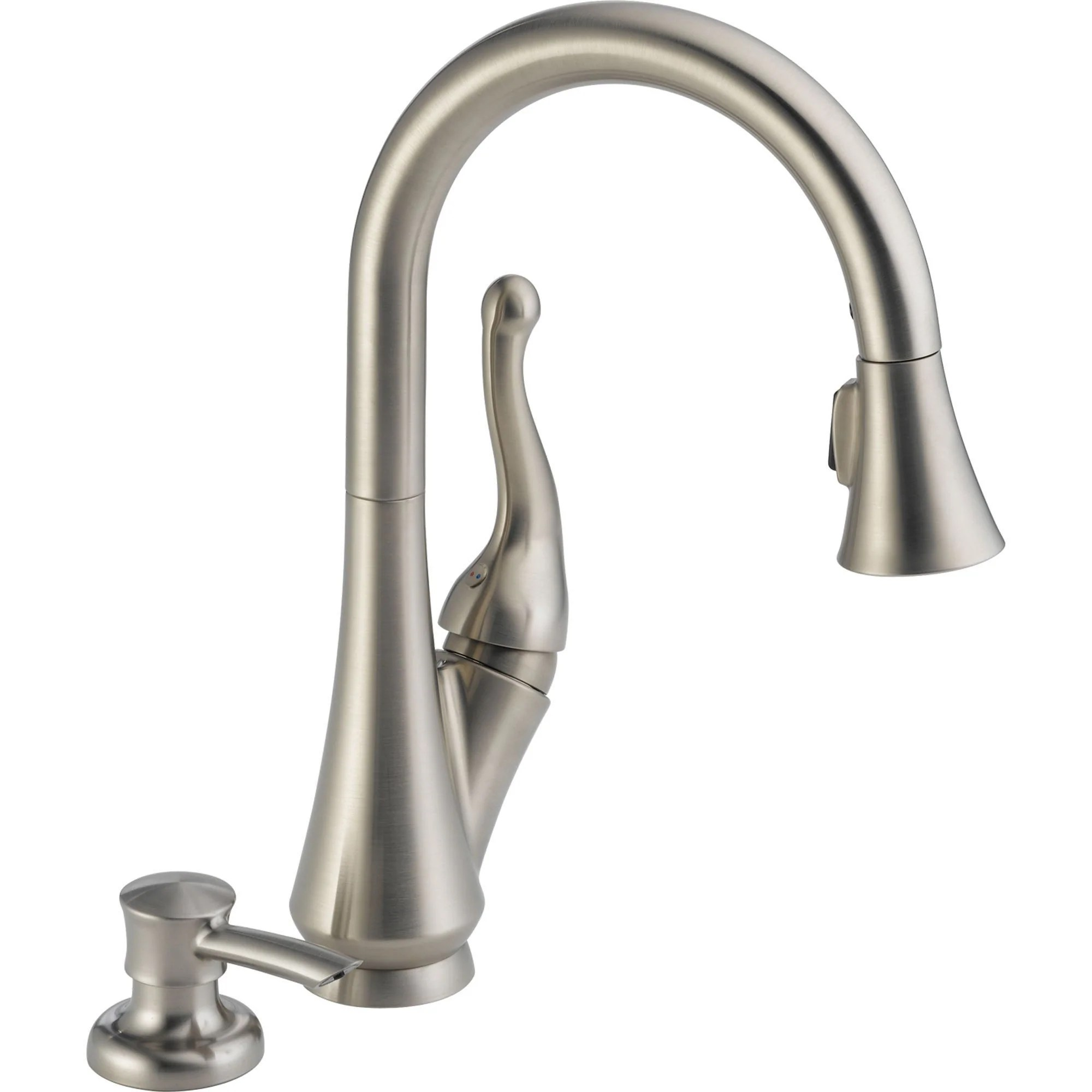delta 1 handle pull down kitchen faucet w soap dispenser in stainless 571015