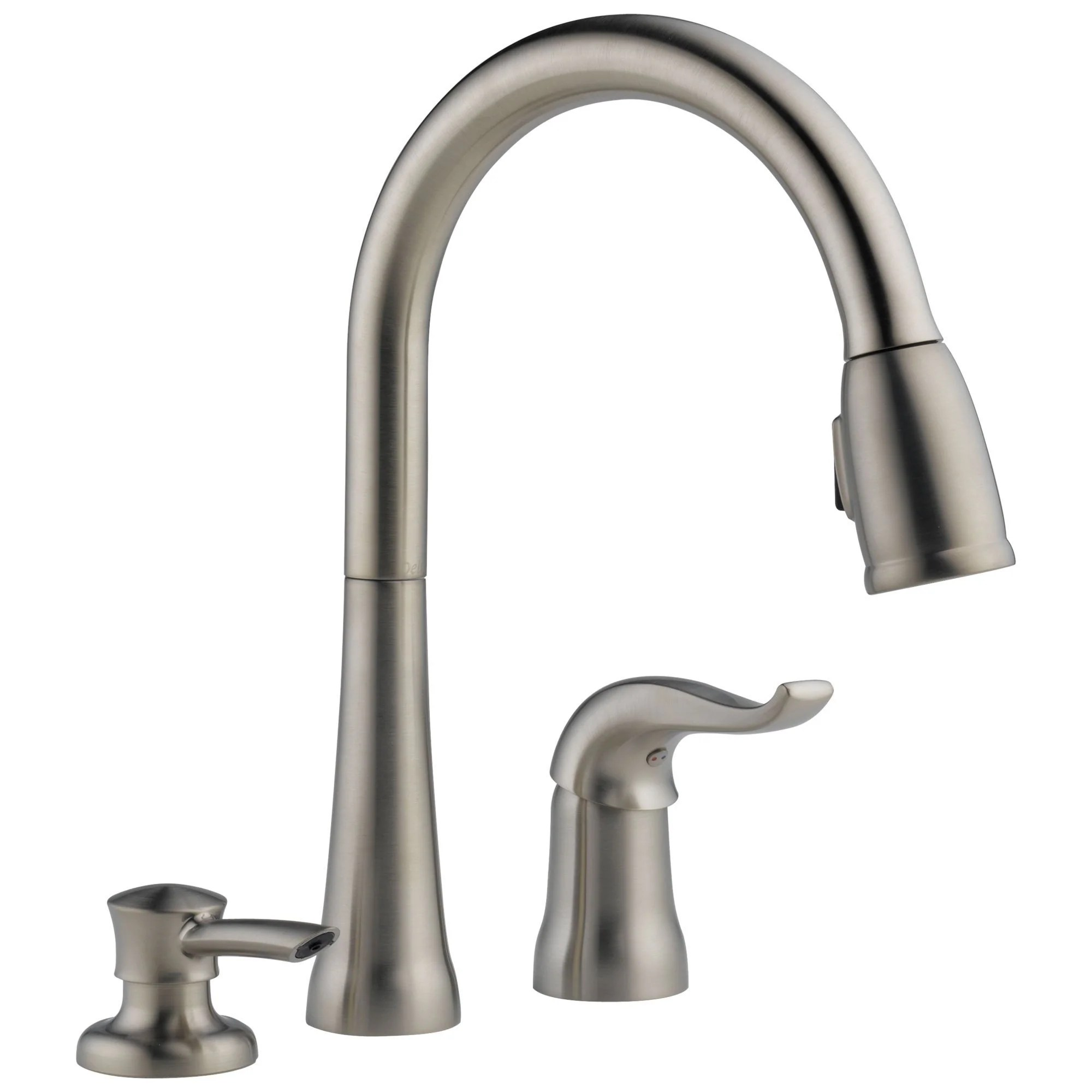 delta stainless steel finish single handle 3 hole pull down sprayer kitchen sink faucet with soap dispenser d16970sssddst