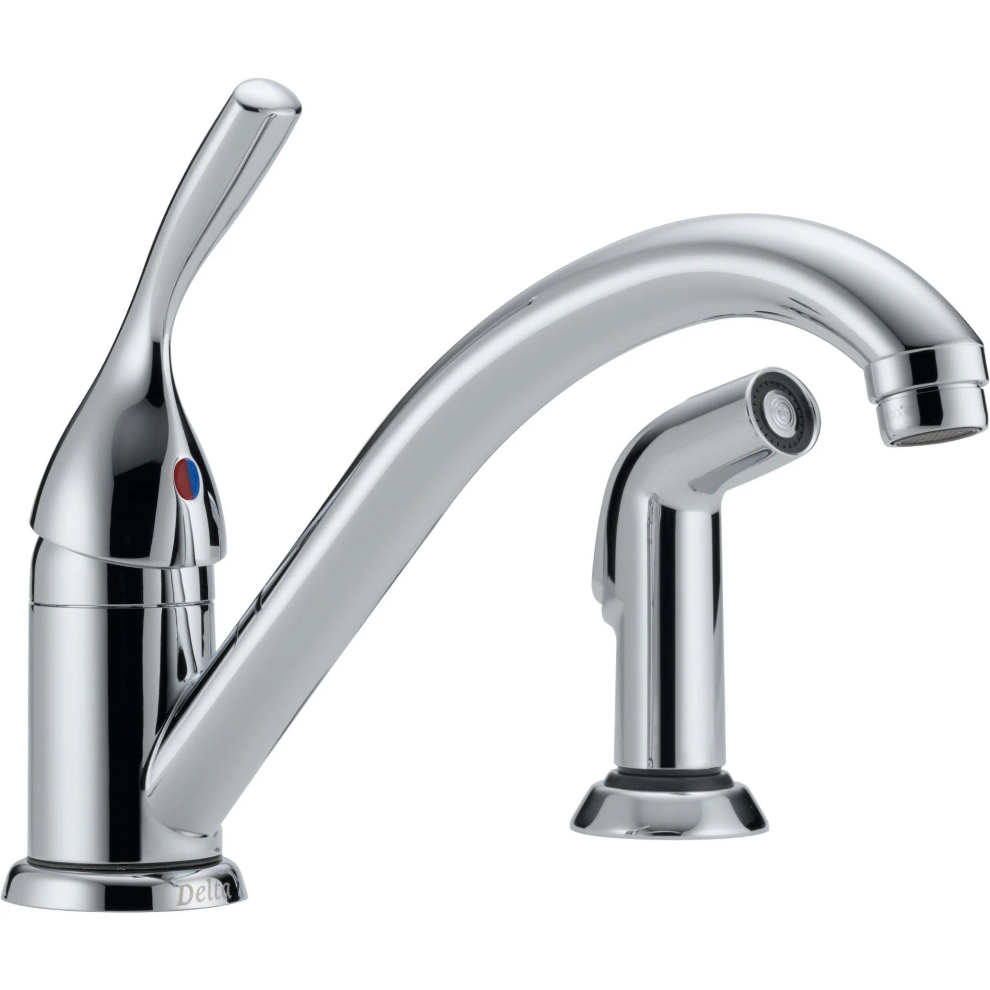 delta classic single handle chrome kitchen faucet with side sprayer 474514