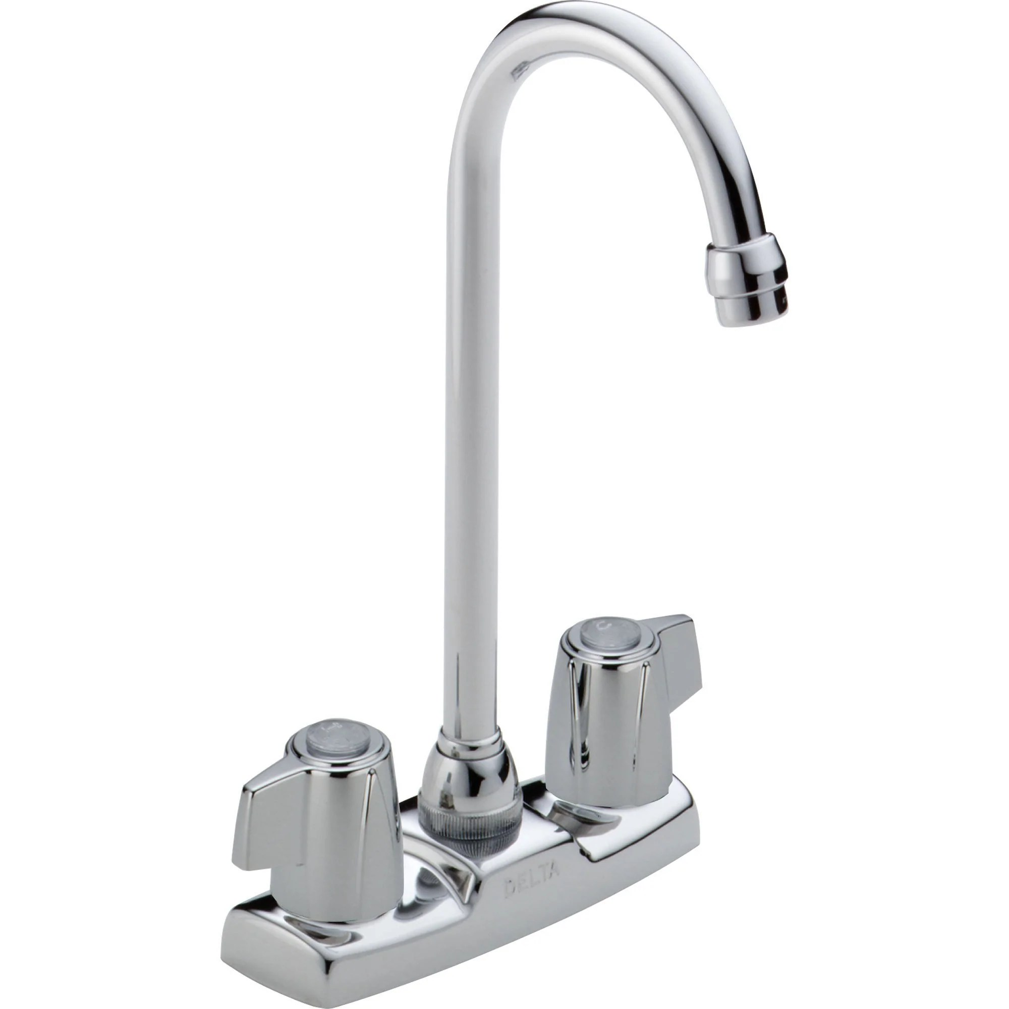 delta gooseneck spout two handle chrome bar prep sink faucet 555810