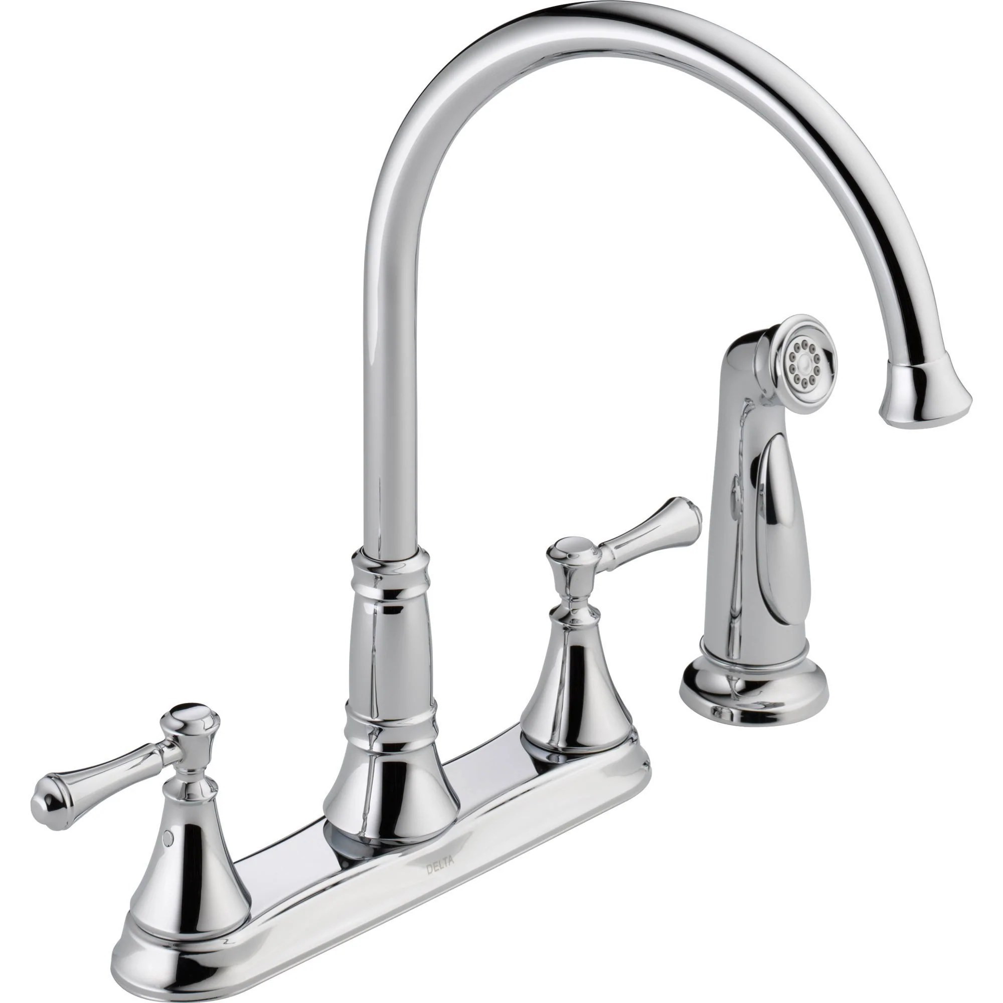 delta cassidy gooseneck chrome kitchen faucet with side sprayer 579500