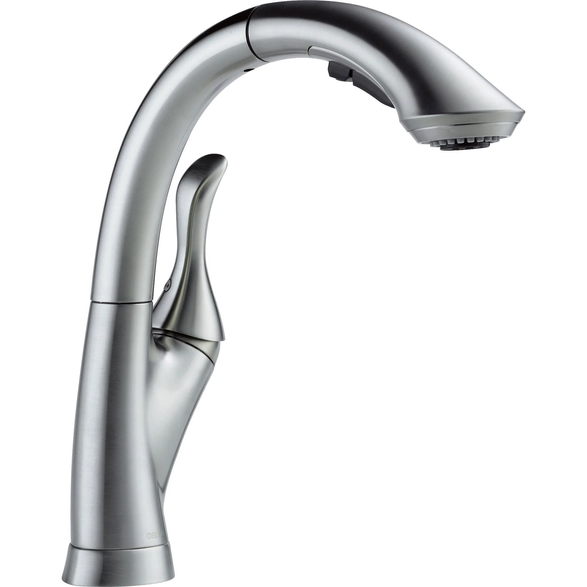 delta linden arctic stainless single handle pull out spray kitchen faucet 610443