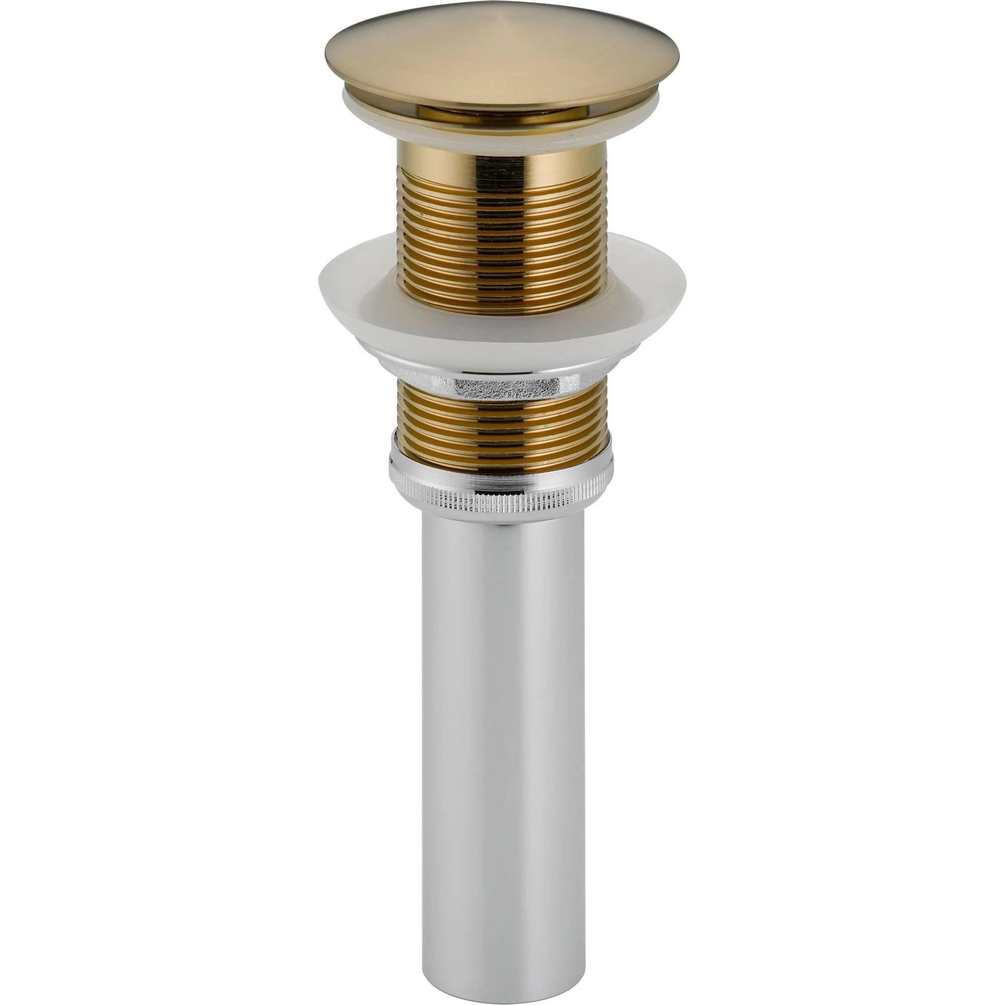 delta champagne bronze push pop up bathroom sink drain without overflow 525027