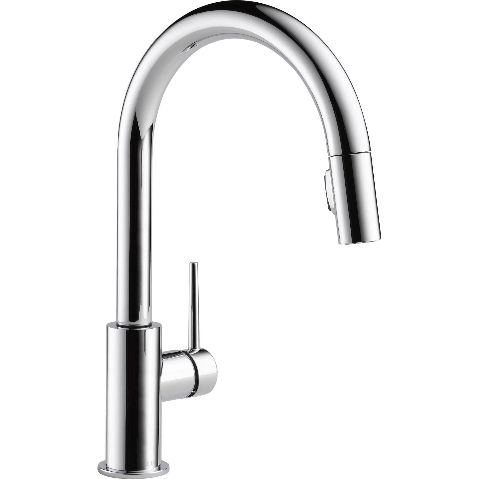 delta trinsic modern chrome pull down sprayer kitchen sink faucet 542660