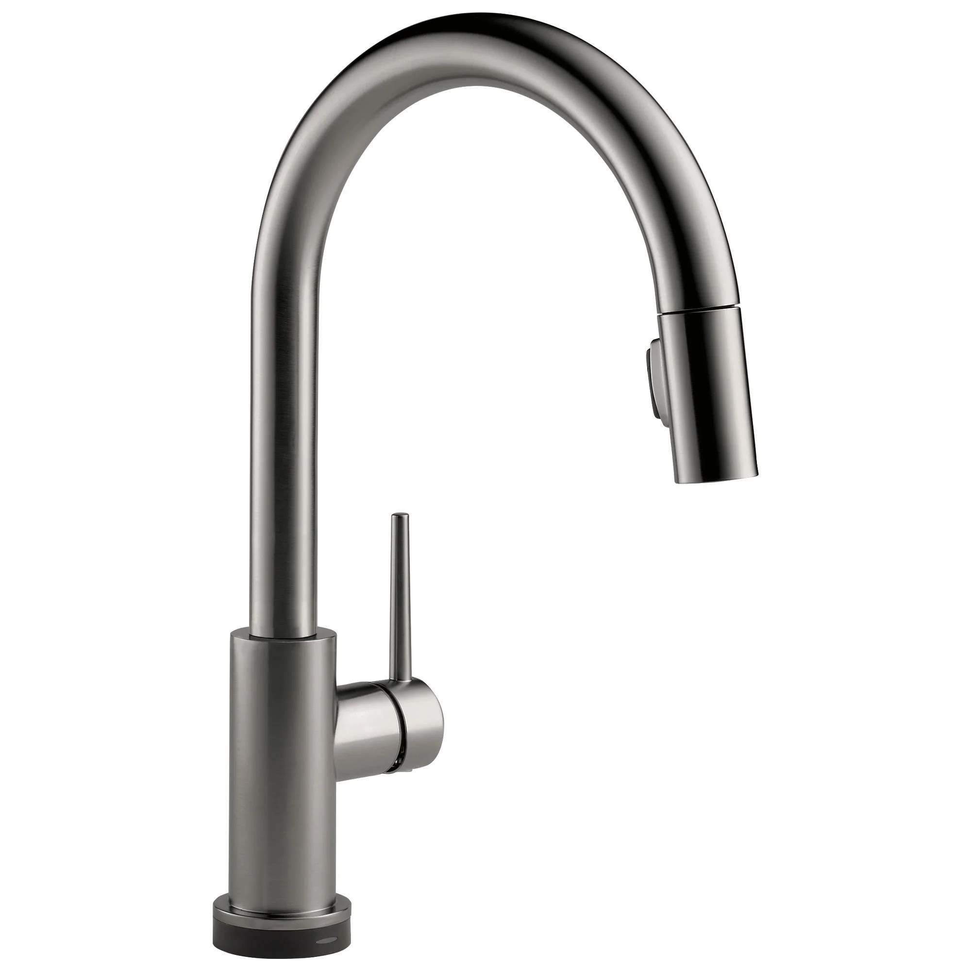 delta trinsic black stainless steel finish single handle pull down kitchen faucet with touch2o d9159tksdst