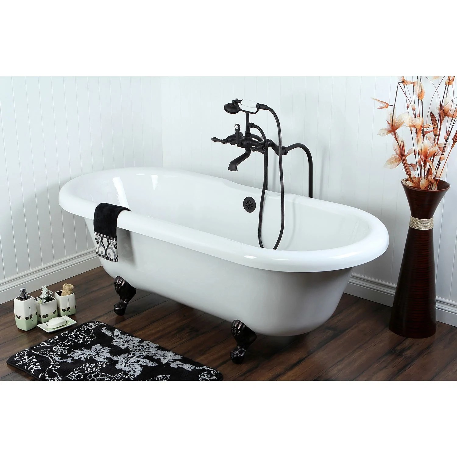 67 clawfoot tub with freestanding oil rubbed bronze tub faucet package ctp55