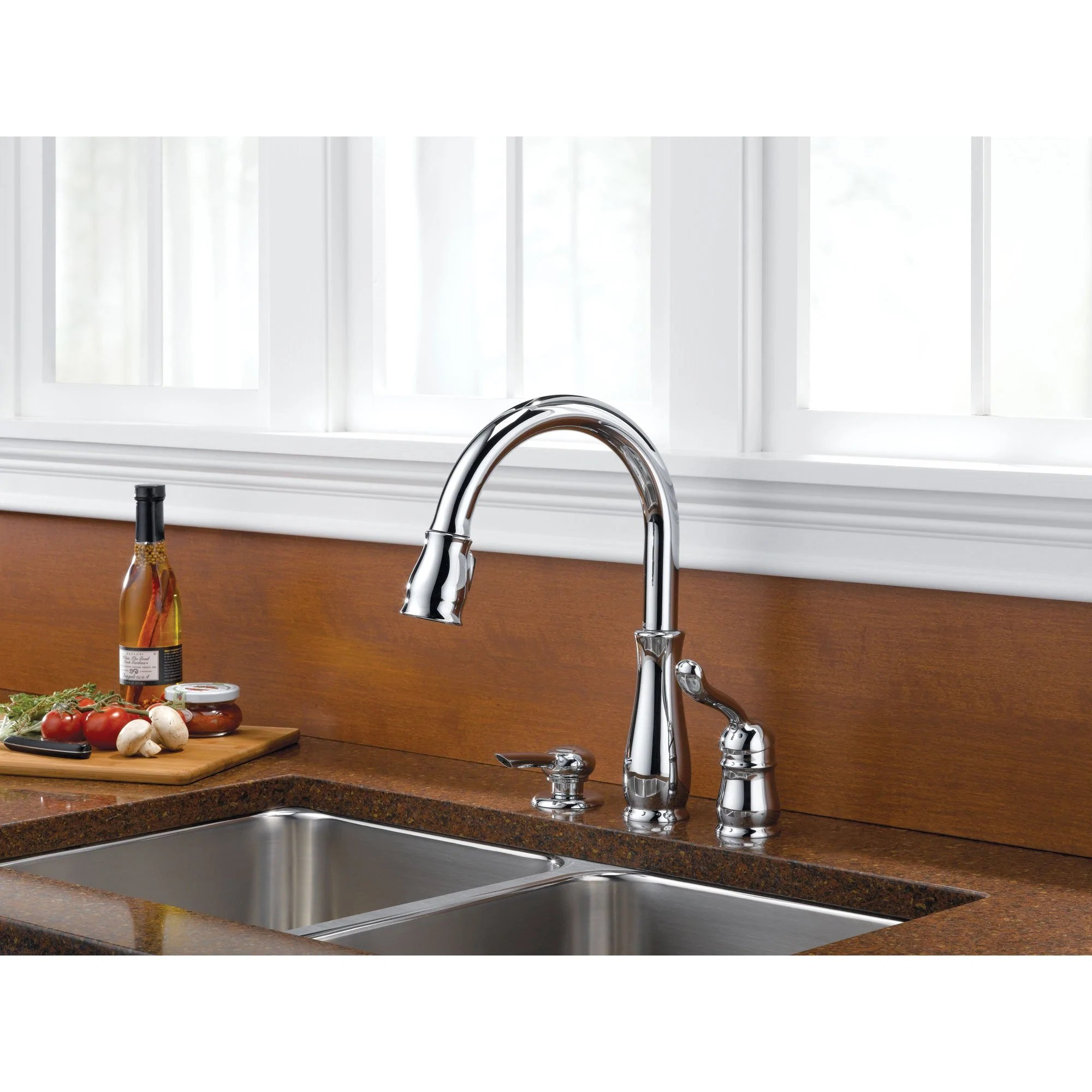delta leland collection chrome finish single handle pull down kitchen sink faucet and soap dispenser package d026cr