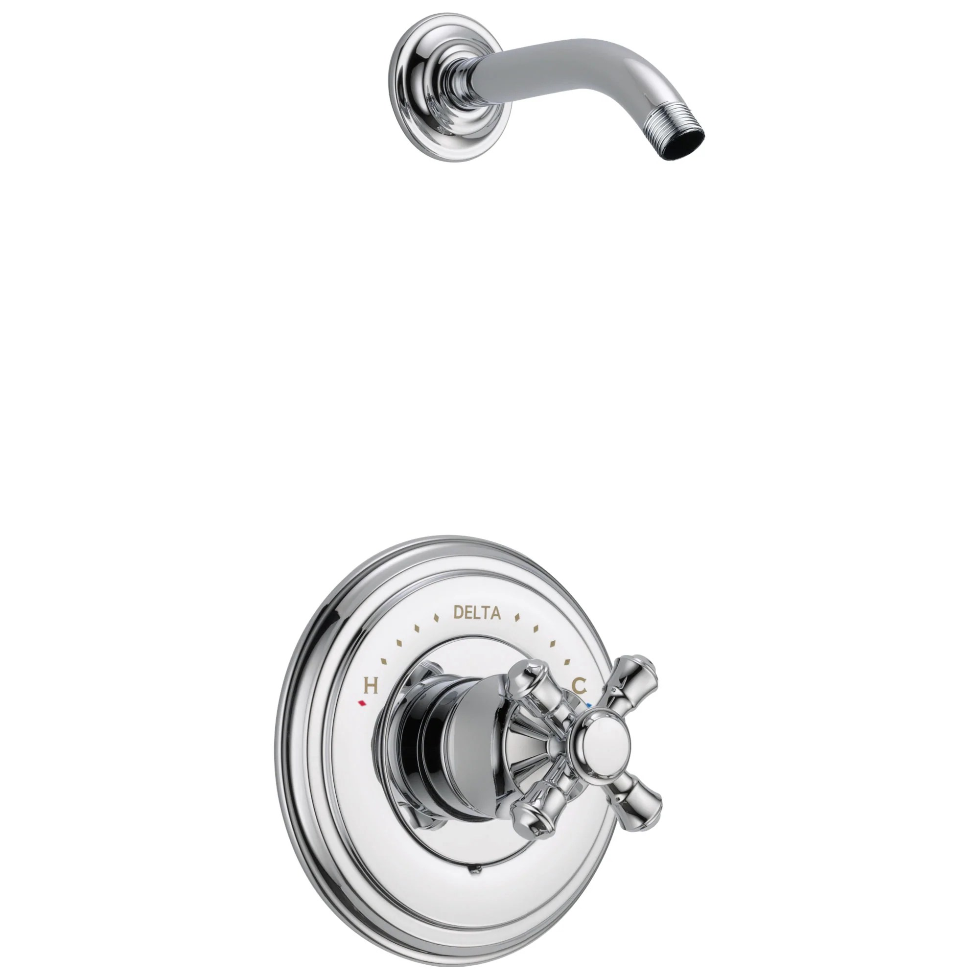 delta cassidy collection chrome monitor 14 shower only faucet less showerhead includes single cross handle and rough in valve without stops d1832v
